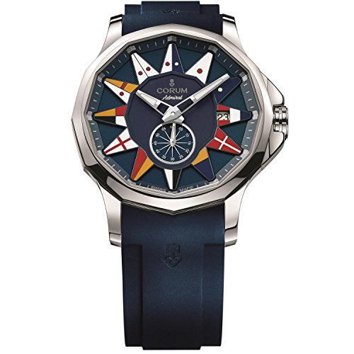 Corum Men's Admiral Legend 42 42mm Blue Rubber Band Steel Case Automatic Watch 395.101.20/F373 AB12