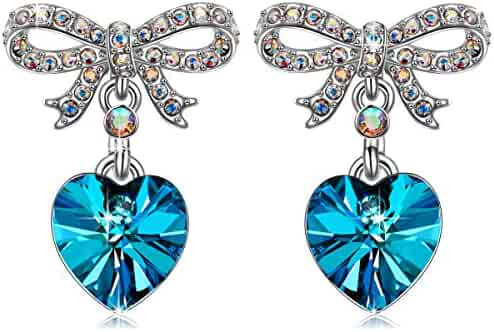 2a4e1e9a2 QIANSE ❣Sweet Lover Hypoallergenic Earrings With Removable Earring Jackets  Made with Swarovski Crystals, offering