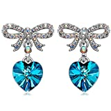QIANSE Sweet Lover Hypoallergenic Earrings Blue Heart Swarovski Crystals Earrings for Women Girls Dangle Dangling Drop Earrings Birthday Gifts Jewelry for Women Girlfriend Anniversary Gifts for Her