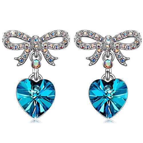QIANSE Sweet Lover Hypoallergenic Earrings Blue Heart Swarovski Crystals Earrings for Women Girls Dangle Dangling Drop Earrings Birthday Gifts Jewelry for Women Girlfriend Anniversary Gifts for Her (Bow Crystal Earrings The)