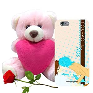 Valentine Gifts Homesogood Say I Love You Multicolor 3D Mobile Case For iPhone 6 (Back Cover) With Teddy & Red Rose