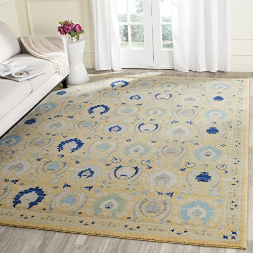 Safavieh Evoke Collection EVK251B Contemporary Gold and Ivory Area Rug 10' x 14'