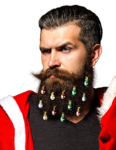 Beardaments Beard Ornaments, 12pc Colorful Christmas Facial Hair Baubles for Men in the Holiday Spirit, Easy Attach Mini Mustache, Sideburns, Goatee Whisker Clips, Festive Red, Green, Gold, Silver Mix