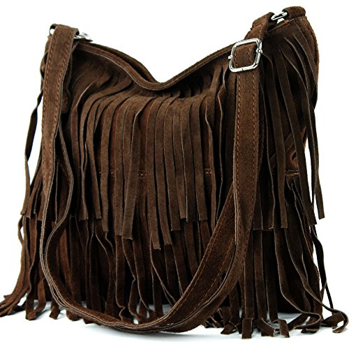 Brown Leather Fringe - Ital. Leather bag Shoulderbag Shoulder bag Ladiesbag Wild leather T125, Color:Chocolate brown