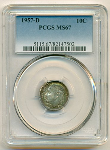1957 D Roosevelt Color Dime MS67 PCGS