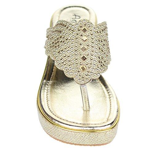 Aarz señoras de las mujeres de la cuña de la tarde ocasional del talón de la sandalia Diamante tamaño de los zapatos (Oro, Champagne, Plata) Oro