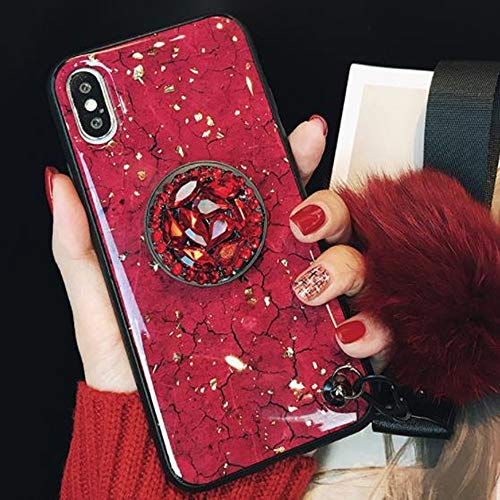 iPhone XR Glitter Glass Case with Ful Ball,Aulzaju iPhone XR Beauty Bling Soft Slim Shockproof Marble Stone Case with Ring Stand for iPhone XR(iphone xr 6.1 inch, Red) ()