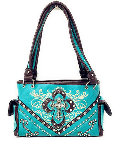 à de qualité Turquoise Sac main multiples brodé avec à haute à main en strass sac l'occidental couleurs en brodé OBOngUqIw