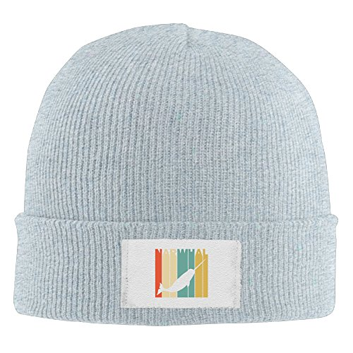 Vintage Style Narwhal Silhouette Elastic Rib Knit Beanie Hats Ash Silhouette Infant Bodysuit