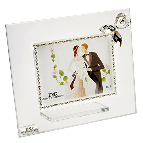 5th Avenue Collection Italian Glass Picture Frame with Gold Links and Swarovski Pendant ()
