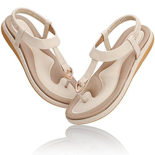 KUONUO Sandales Plates Femme, Chaussures de Ville Été à Talons Plats Compensés Tong Confortable, Noir Beige Flip Flops Chaussure Plage Vacances Beige