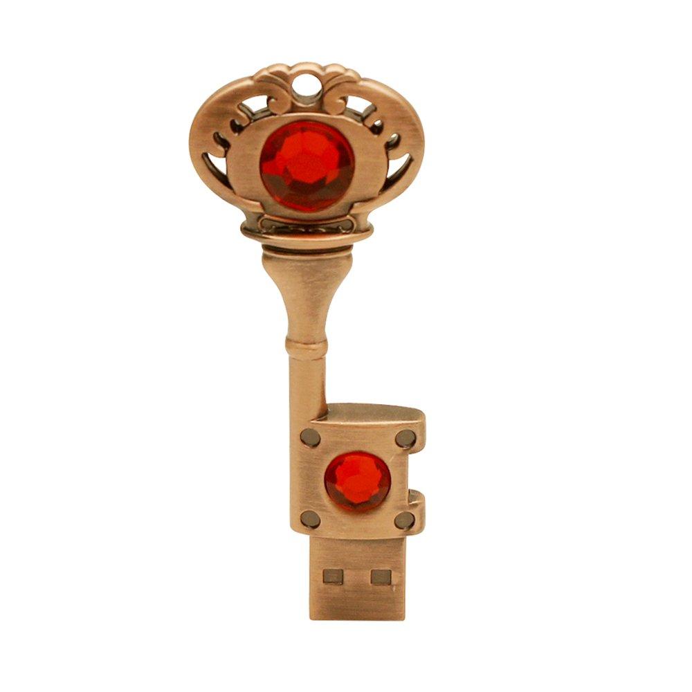 zjr usb flash drive 32 gb metal key memory stick High Speed cool Thumb Drives u disk gifts cute crystal flash drives Creative pen drive (32G, (bronze + red))