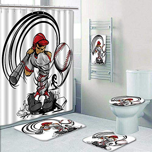 Philip-home 5 Piece Banded Shower Curtain Set Baseball Coon Player with Bat and Ball Pattern Printing Suit