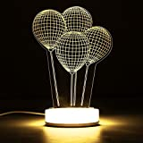 Hitommy 3D Illusion USB LED Night Light Warm White Desk Table Lamp Xmas Gift - 002