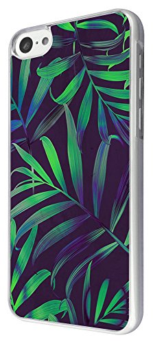 2106 - Cool Green Tropical Plants Flowers Beach Fern Trees Design iphone 5C Hülle Fashion Trend Case Back Cover Metall und Kunststoff -Clear