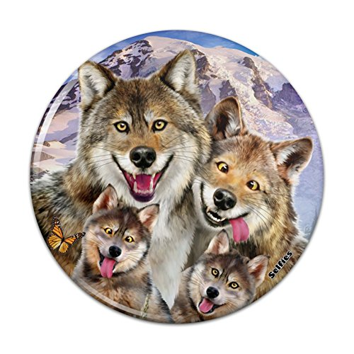Wolf Pack Selfie Family Wolves Compact Pocket Purse Hand Cosmetic Makeup Mirror - 3
