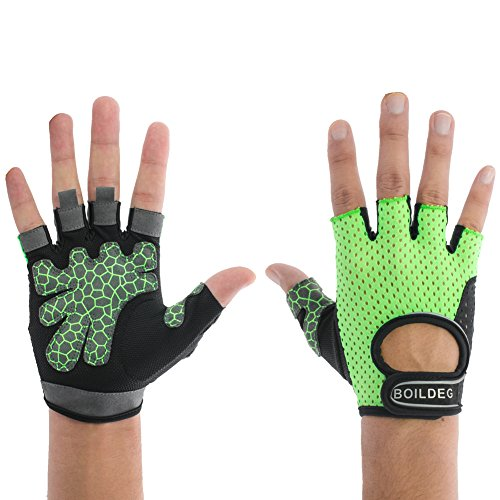 Women's Reflective Cycling Gloves Girls' Mesh Fabric Mountain Bike Gloves Bicycle Riding Gloves Motorcycle Driving Gloves Half Finger Short Bar Gloves with Non-slip Gel Pad (Green, US-M)
