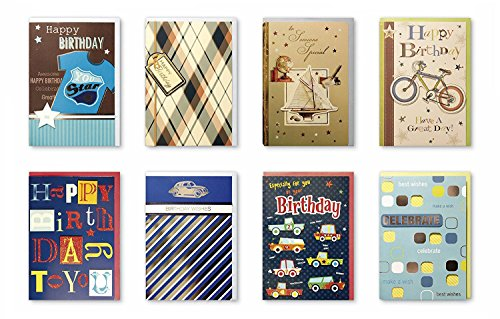 Assorted Handmade Embellished Birthday Cards Box Set, 8 Pack Birthday Card Assortment in Bulk For Him, Dad, Husband,