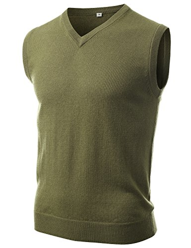 IDARBI Men's Lightweight Pullover V-Neck Sweater Vest ARMY GREEN X-LARGE