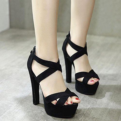 Career The Mouth Black Night Sandals Ultra High Strap 13Cm Shoes With Waterproof Women Fish Like Shoes HGTYU Thick Cross One Club Ugwqadgxz