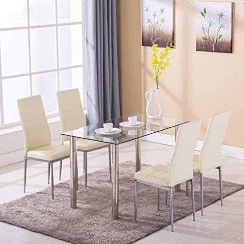 home, kitchen, furniture, kitchen, dining room furniture,  table, chair sets 3 image Mecor 5 Piece Dining Table Set Tempered Glass promotion