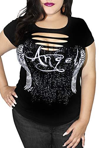 Gothic Angel Cut Out Tee| Cute Sexy Plus Size Goth T-Shirt Top (Black Goth Angel, 1x)