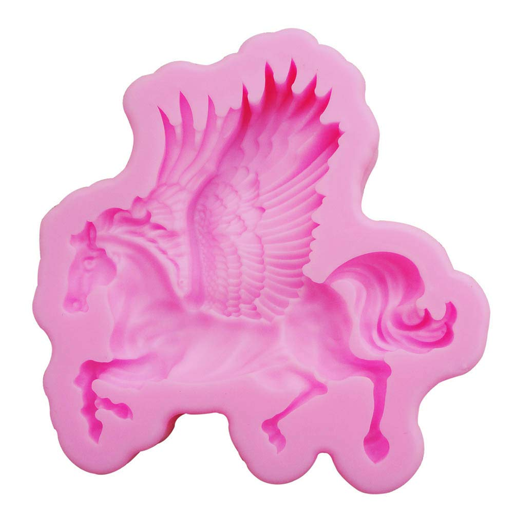 Cake Stencils, DIY Silicone Pegasus Horse Fondant Mould Cake Chocolate Soap Mold, 3 Pcs