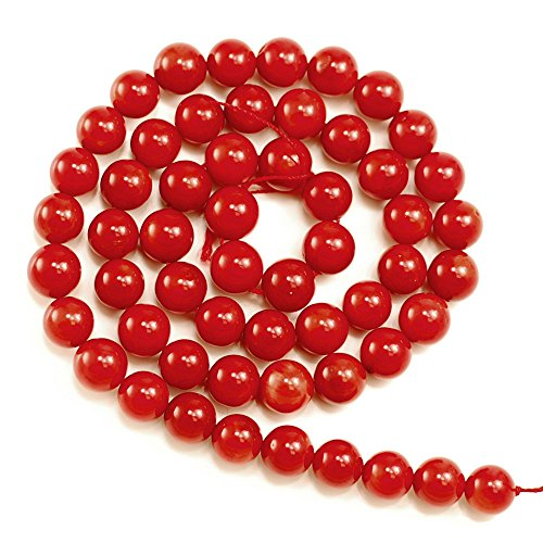 - 01 Blood Red Coral Round 7mm for Jewelry Making Beads Loose Beads 15