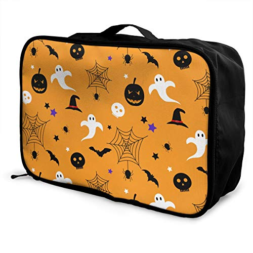 Halloween Spider Web Skull Travel Pouch Carry-on Duffle Bag Lightweight Waterproof Portable Luggage Bag Attach To Suitcase -