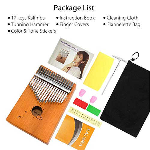 Kalimba 17 Keys, Thumb Piano with Study Instruction and Tune Hammer, Solid Mahogany Wood Portable Mbira Sanza African Wood Musical Instrument Finger Piano for Kids Adult Beginners Professionals