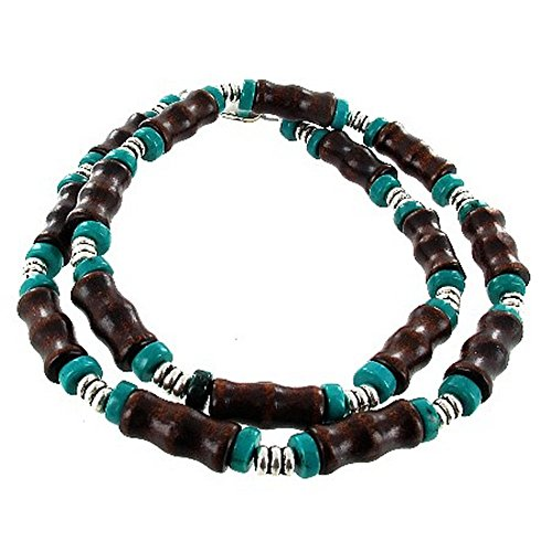 Mens Brown Wood Bamboo & Turquoise Magnesite Heishi Beaded Necklace - 24