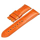 ZLIMSN Customized Crocodile Leather Watch Band Strap for Men Color Orange Choose Width 20mm