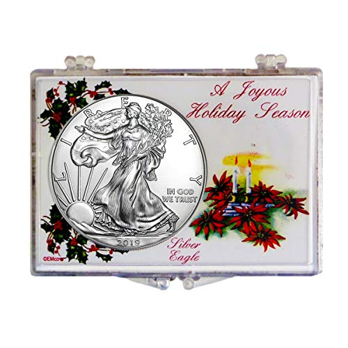 2019 - American Silver Eagle in Christmas Holder Dollar Uncirculated US Mint (Real Silver Dollars)