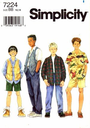 Simplicity 7224 Sewing Pattern Boys Shirt Vest Pants Shorts Size 12 - 14 (Sewing Boy Clothes compare prices)