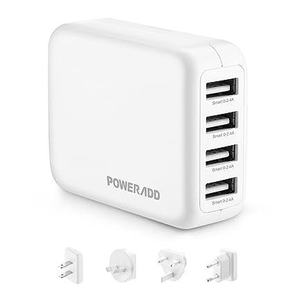 POWERADD USB Cargador de Viaje 4 Puertos de USB (2.4A*4) con Adaptador Internacional (EU/UK/US/AU,100-240V) para iPhone, Tabletas y Otros Dispositivos ...