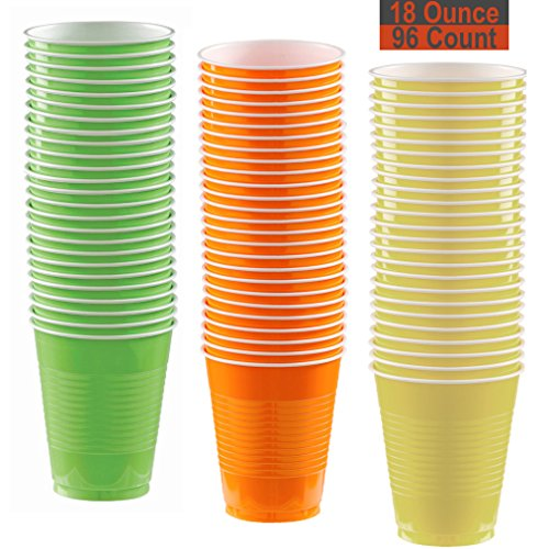 Light Yellow Orange Green - 18 oz Party Cups, 96 Count - Lime Green, Pumpkin Orange, Light Yellow - 32 Each Color