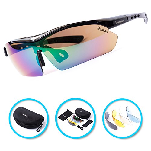 Verdster TourDePro Polarized Cycling Sport Sunglasses For Men and Women 5 Lenses, Sporty - Glasses Volleyball