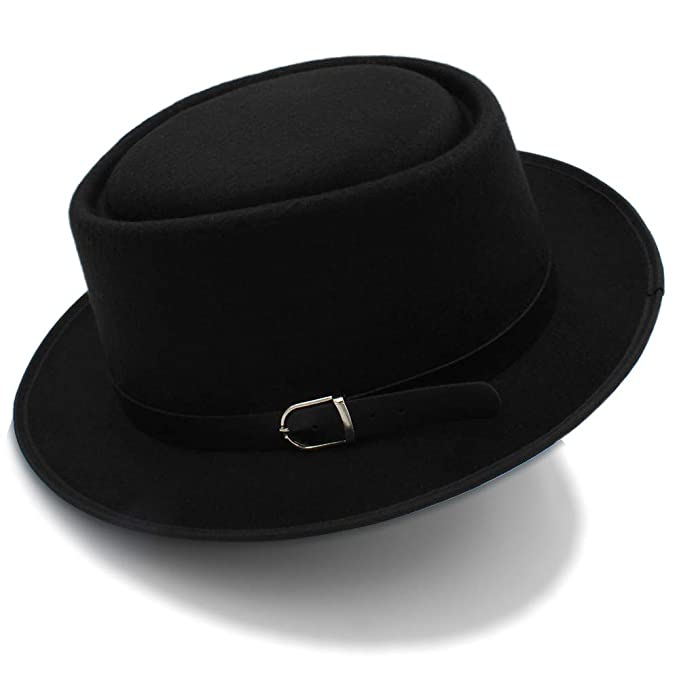 Amazon.com  SRY-Caps 2018 Mens Fedora Wide Brim Classic Winter Black Male  Pork Pie Hat Felt Hats (Color   Black c51ecd04f52