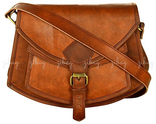 ZiBag Vintage Goat Leather 9'' Cross Body Bag Boat Style with Front Pocket Ideal for Fashion Travel Women Gift College Girls Office- Handmade Satchel Sling Shoulder Bag -B02_L