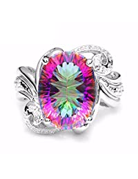 GOMORINGS Rings 11ct Rainbow Fire Mystic Gem Stone Topaz Pure Solid 925 Sterling Silver Vintage Luxury