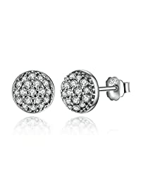 PAHALA 925 Sterling Silver Round Crystals Stud Party Wedding Earring