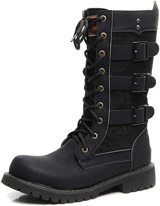 Mens Knee High Boots Zip Toe Buckle Strap Motorcycle Combat Casual Suede Shoes