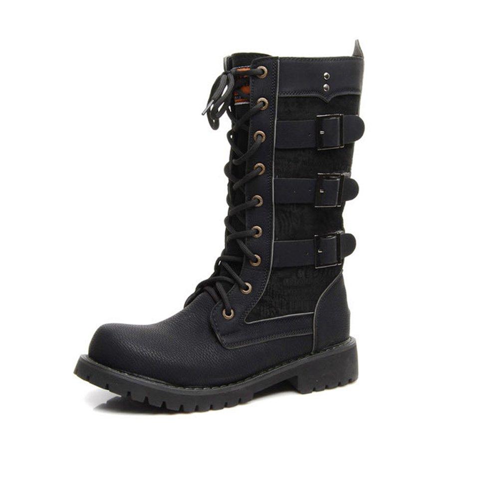 MXNET Herrenschuhe Schnürung Gürtelschnalle PU Leder Mid Calf Combat Stiefel für Herren Laufen Sie eine Größe größer für Männer (Farbe   Schwarz, Größe   45 EU)