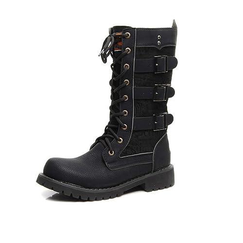 9b0beefaaa6 Amazon.com | Battle Men Men's Shoes Lace Up Belt Buckle PU Leather ...
