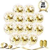 Party Deco 20 Pcs Gold Confetti Balloons, 12'' Large Party Balloons for Party Decorations, Birthday, Baby Shower, Bridal Shower, Graduation, Bachelorette Party with Gold Ribbon