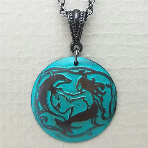 Etched Copper Mermaid with Dolphin Necklace