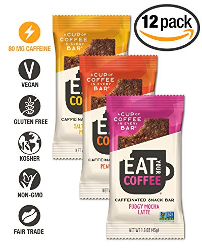 Eat Your Coffee Caffeinated Snack and Energy Bar / Variety Pack / 80mg Natural Caffeine = 8oz Cup of Coffee / Non GMO, Vegan, Gluten Free, Kosher, Paleo Friendly / 12 Count (3 Flavors)