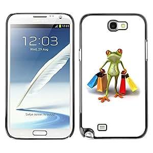 TopCaseStore / la caja del caucho duro de la cubierta de protección de la piel - Clothes Shop Frog White - Samsung Galaxy Note 2 N7100