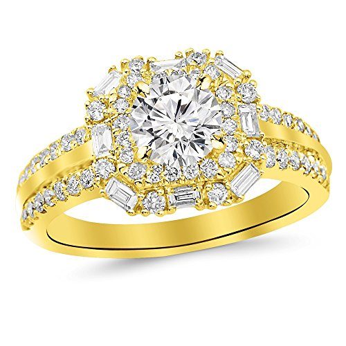 Double Baguette Row - 1.44 Carat t.w. 14K Yellow Gold Round Double Row Baguette and Round Halo Diamond Engagement Ring K I2 Clarity Center Stones.