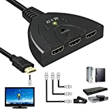 HDMI Switch, GOXMGO 3 Port 4K HDMI Switcher 3x1 Switch HDMI Splitter Pigtail Cable Supports Full HD 4K 1080P 3D Player